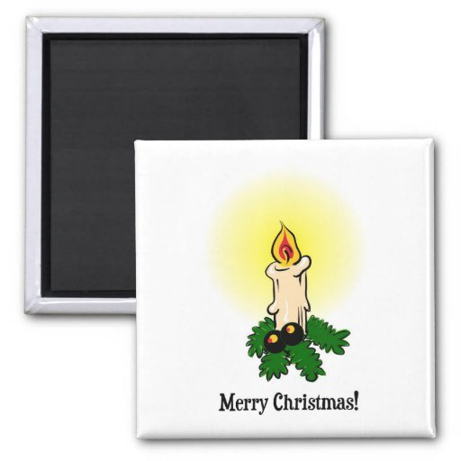 Merry Christmas, Burning (lit) candle and leaves Refrigerator Magnets
