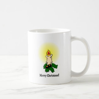 Merry Christmas, Burning (lit) candle and leaves Coffee Mugs