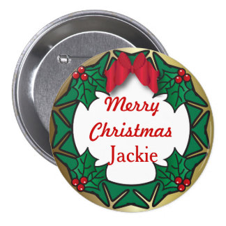 Merry Christmas Button- Wreath 3 Inch Round Button