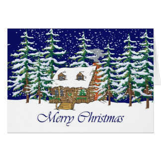 Merry Christmas Cabin Card