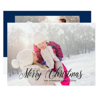 Merry Christmas Calligraphy Overlay Photo Card