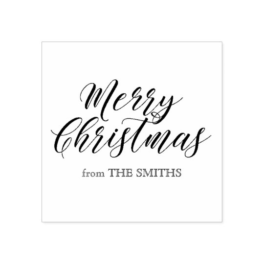 Merry Christmas Calligraphy Rubber Stamp