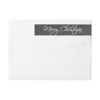 Merry Christmas Calligraphy Script Chalkboard Wraparound Return Address Label