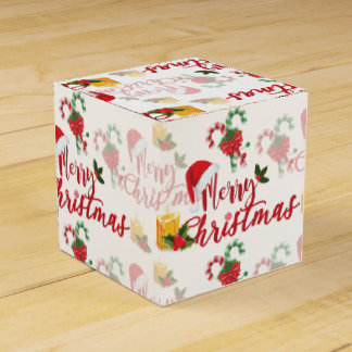 Merry Christmas Calligraphy Script Favor Box