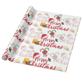 Merry Christmas Calligraphy Script Wrapping Paper
