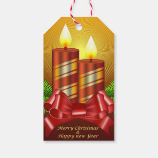 Merry Christmas Candles Gift Tags Pack Of Gift Tags