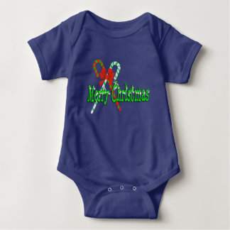Merry Christmas Candy Canes Baby Bodysuit