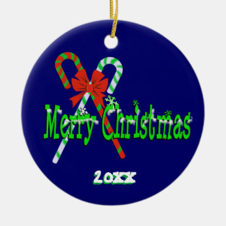 Merry Christmas Candy Canes Ceramic Ornament