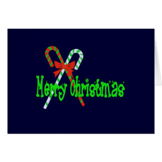Merry Christmas Candy Canes with Red Bow Card