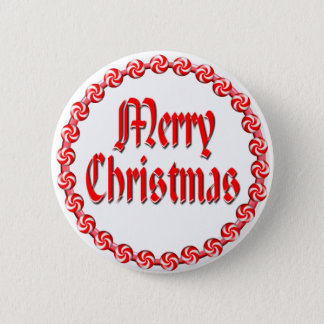 MERRY CHRISTMAS & CANDY WREATH by SHARON SHARPE 2 Inch Round Button