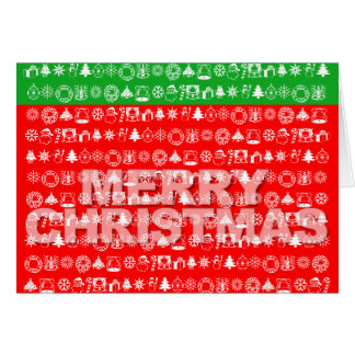 Merry Christmas Card Ornament Icon Red