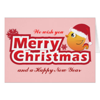 Merry Christmas cartoon baby bird greeting card