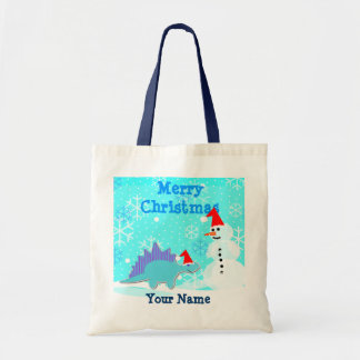 Merry Christmas Cartoon Dinosaur Snowman Bag/ Tote