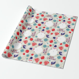 Merry Christmas Cartoon Snowman Wrapping Paper