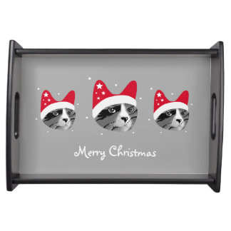 Merry Christmas Cat in Santa Hat Serving Tray