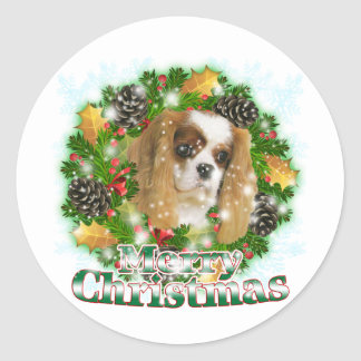 Merry Christmas Cavalier Classic Round Sticker