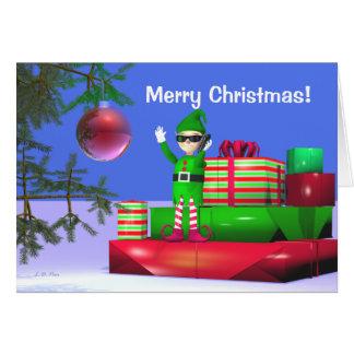 Merry Christmas Cellphone Elf Greeting Card