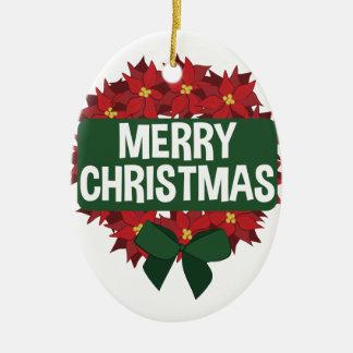 Merry Christmas Ceramic Oval Ornament
