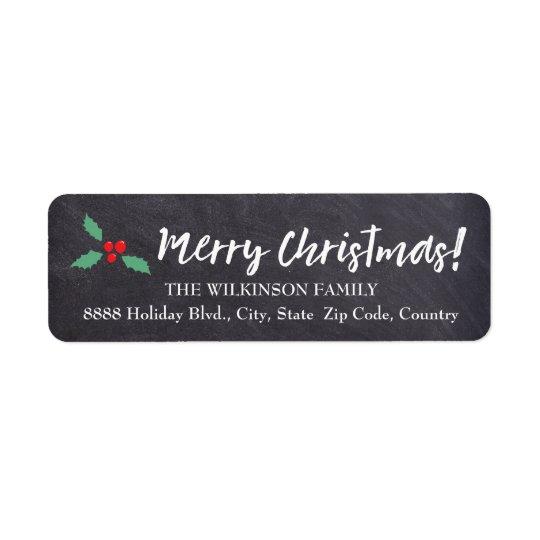 Merry Christmas •Chalkboard • Handlettering Return Address Label