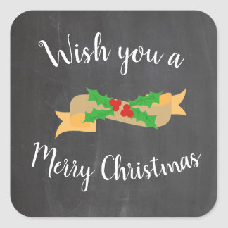Merry Christmas Chalkboard Letters Square Sticker