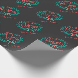 MERRY CHRISTMAS CHALKBOARD PERSONALIZED WRAPPING