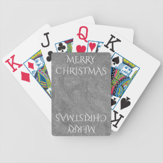 Merry Christmas Chalkboard Typography Black White Bicycle Playing Cards