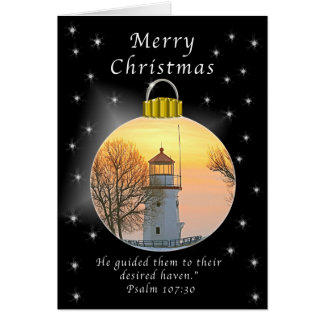 Merry Christmas Cheboygon Lighthouse Card