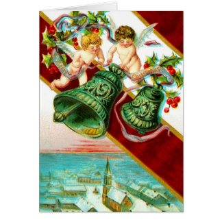 Merry Christmas, cherubs and bells Greeting Card