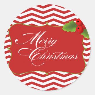 Merry Christmas Chevron Classic Round Sticker