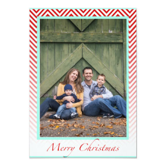 """Merry Christmas- Chevron Ombre- Blue & Red 5"""" X 7"""" Invitation Card"""