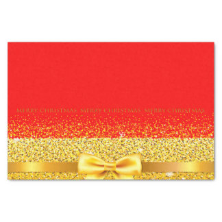 Merry Christmas chic gold bow and ribbon on red Tissue Paper