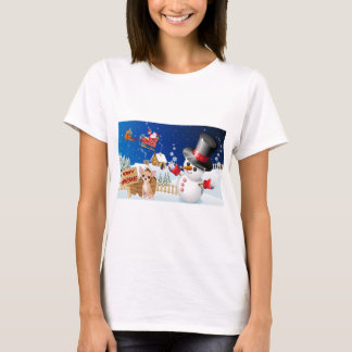 Merry Christmas Chihuahua With Frosty T-Shirt