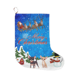 Merry Christmas Chihuahua With Santa Large Christmas Stocking