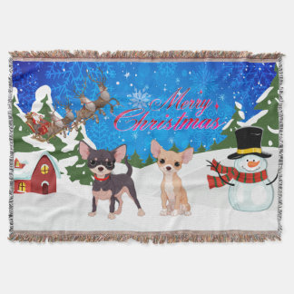 Merry Christmas Chihuahua With Santa Throw Blanket