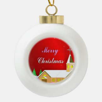 Merry Christmas Christian Church Ceramic Ball Ornament