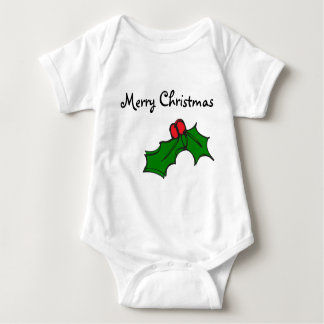 Merry Christmas - Christmas holly Baby Bodysuit