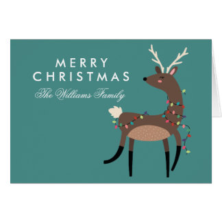 Merry Christmas | Christmas Lights Reindeer Card