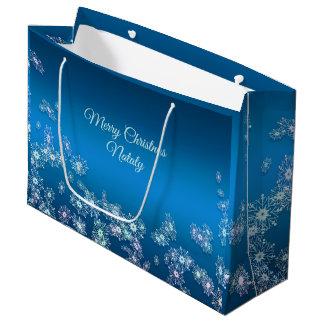 Merry Christmas. Christmas  snowflakes texture. Large Gift Bag