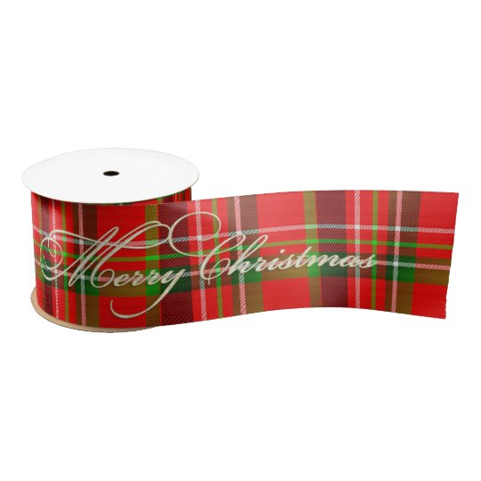 """Merry Christmas"", Christmas Tartan Pattern Satin Ribbon"