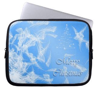 Merry Christmas. Christmas texture. Laptop Sleeve