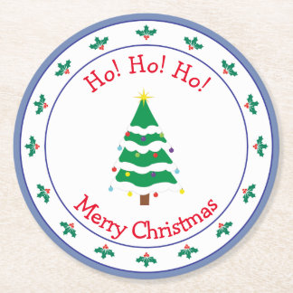 Merry Christmas Christmas Tree Round Paper Coaster