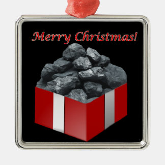 Merry Christmas Coal Present Metal Ornament