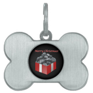 Merry Christmas Coal Present Pet ID Tag