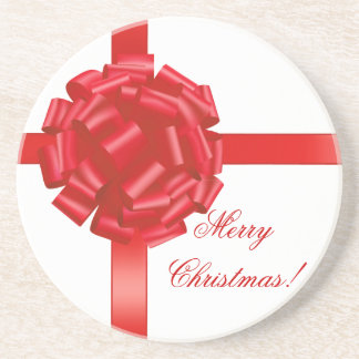 Merry Christmas Coaster Red Bow Personalized