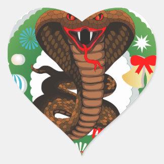 merry christmas cobra snake heart sticker