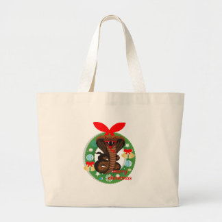 merry christmas cobra snake large tote bag