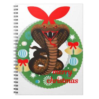 merry christmas cobra snake notebook
