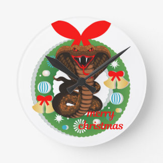 merry christmas cobra snake round clock