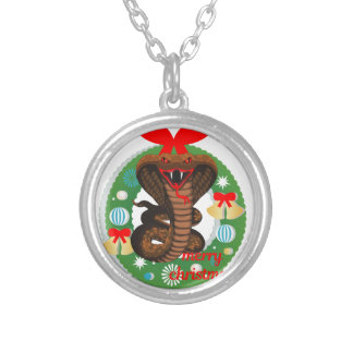 merry christmas cobra snake silver plated necklace