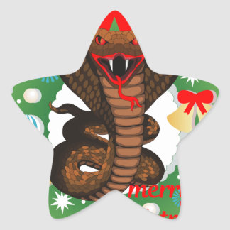 merry christmas cobra snake star sticker